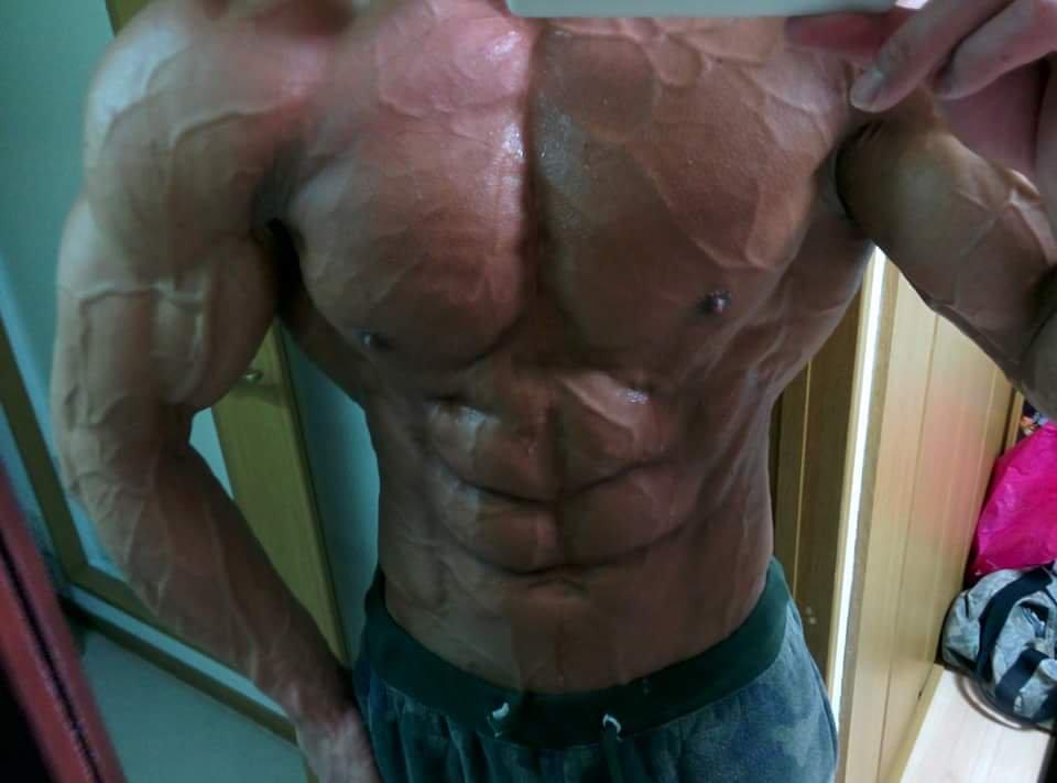 【画像】筋肉評価してくれ 100点満点中何点くらいある?????????